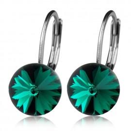 Ocelové náušnice - Emerald, 8 mm