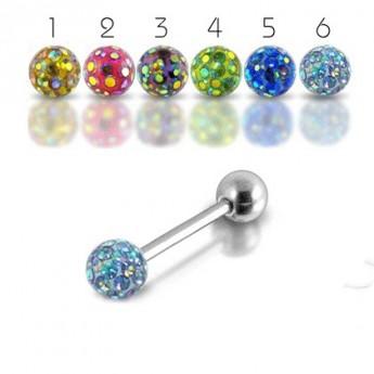 Piercing do jazyka s krystaly Crystals From Swarovski