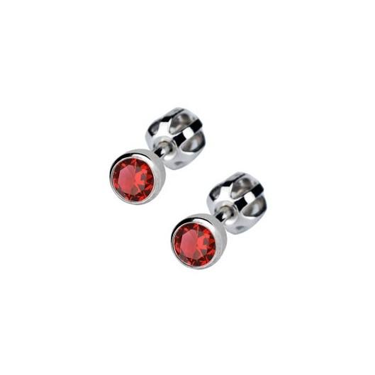 Stříbrné náušnice s červenými kamínky 4 mm