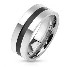 Pánský ocelový prsten s černým pruhem