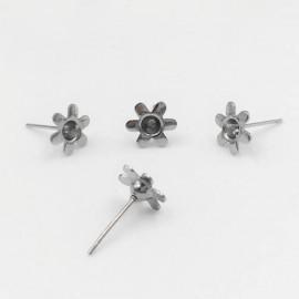Ocelové náušnicové lůžko kytička pro 3 mm kámen