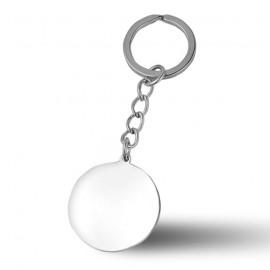 Ocelový přívěšek na klíče - kulatá destička