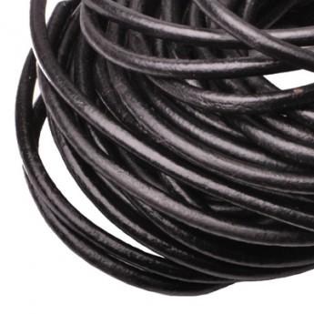 Kožená šňůrka kulatá černá lesklá, tl. 6 mm