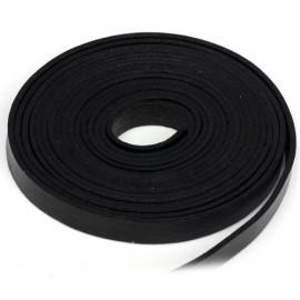 Kožená šňůrka plochá černá, šíře 10 mm