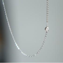 Stříbrný náhrdelník - kulatý zirkon
