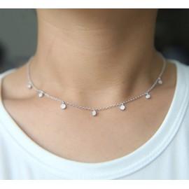 Stříbrný náhrdelník s kolečky s mikrozirkony