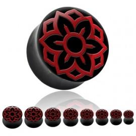 Rohovinový plug do ucha - červené ornamenty