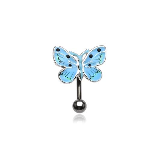 Piercing do pupíku - modrý motýlek