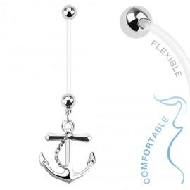 Těhotenský piercing do pupíku - kotva