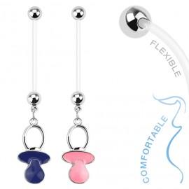 Těhotenský piercing do pupíku - dudlík