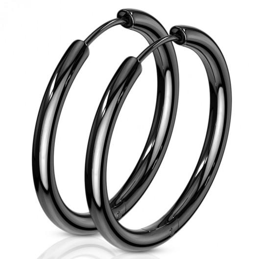 Černé ocelové náušnice - kruhy 25 mm