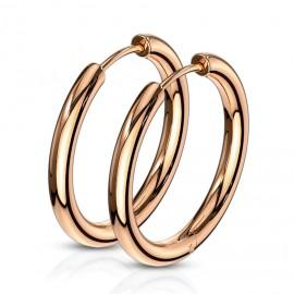 Zlacené ocelové náušnice - kruhy 16 mm