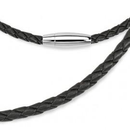 Kožená splétaná šňůrka černá, délka 50 cm