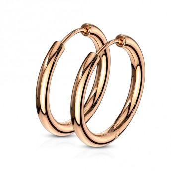 Zlacené ocelové náušnice - kruhy 14 mm