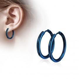 Modré ocelové náušnice - kruhy 14 mm