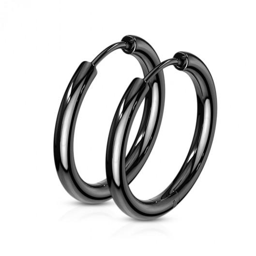 Černé ocelové náušnice - kruhy 19 mm