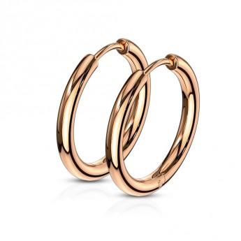 Zlacené ocelové náušnice - kruhy 12 mm