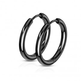 Černé ocelové náušnice - kruhy 12 mm