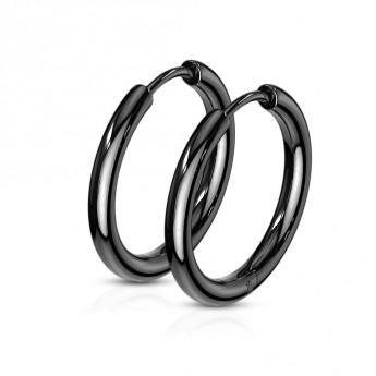 00c7ba843 Černé ocelové náušnice - kruhy 17 mm Ocelové náušnice