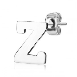 Ocelová náušnice 1ks - iniciála