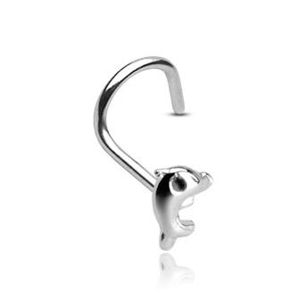 Stříbrný zahnutý piercing do nou - delfínek