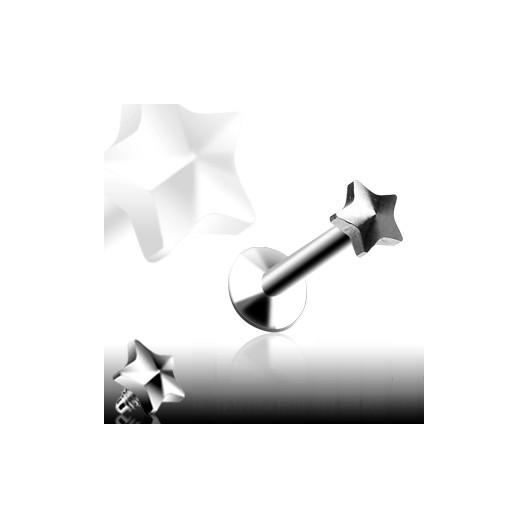 Piercing do brady - labreta 1,6 x 10 mm, hvězda