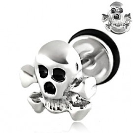 Falešný piercing do ucha - náušnice - lebka