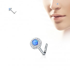 Zahnutý piercing do nosu - modrý opál