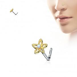 Zlacený piercing do nosu kytička - opál