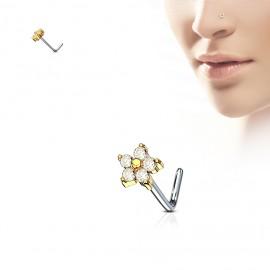 Zlacený zahnutý piercing do nosu, čiré kamínky