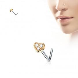 Zahnutý piercing do nosu, modré kamínky