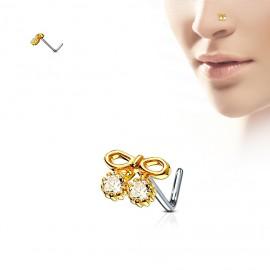 Zahnutý piercing do nosu, čiré kamínky