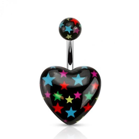 Černý piercing do pupíku s hvězdami