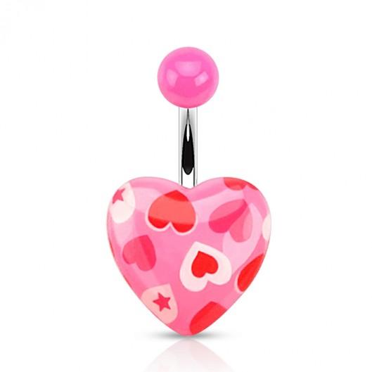 Růžový piercing do pupíku se srdíčky