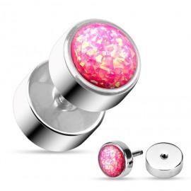 Falešný piercing do ucha - barva růžová