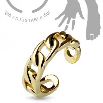 Zlacený prsten na nohu - řetěz