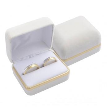 Semišová dárková krabička na prsten snubní prsteny, barva béžová