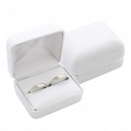 Semišová dárková krabička na prsten snubní prsteny, barva bílá