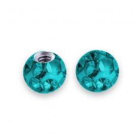 Náhradní kulička s krystaly Swarovski®, 3 mm, závit 1,2 mm, barva tmavě tyrkysová
