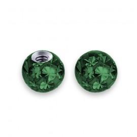 Náhradní kulička s krystaly Swarovski®, 3 mm, závit 1,2 mm, barva tmavě zelená
