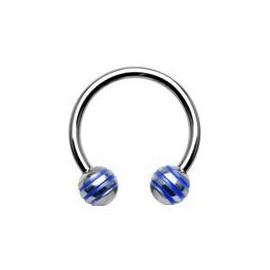 Piercing - podkova - modré proužky