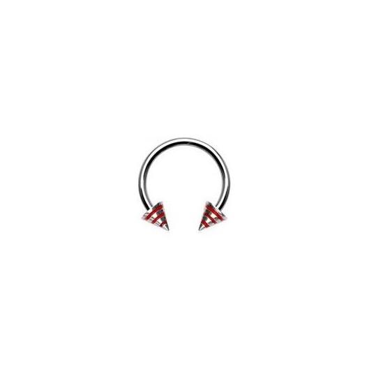 Piercing - podkova - červené proužky
