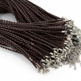Splétaná koženková šňůrka černá/hnědá, tl. 3 mm