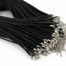 Splétaná koženková šňůrka černá, tl. 3 mm