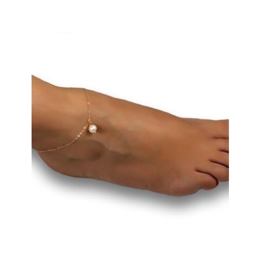 Zlacený řetízek na nohu s perličkou