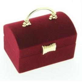 Semišová dárková krabička - truhla vínová