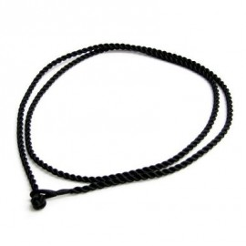 Hedvábná kroucená šňůrka na krk černá, tl. 2 mm