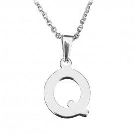 """Ocelový řetízek s přívěškem iniciála """"Q"""""""