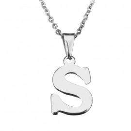 """Ocelový řetízek s přívěškem iniciála """"S"""""""