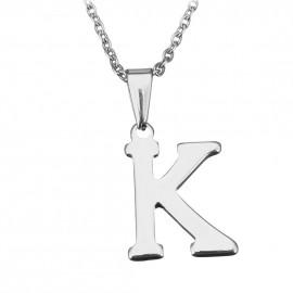 """Ocelový řetízek s přívěškem iniciála """"K"""""""